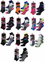 12 Pairs Ladies Trainer Liner Sports Socks Womens Girls Funky Designs Adults