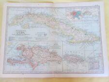 Vintage Map,CUBA,HAITI,JAMAICA,+TRINIDAD,68,Century Atlas,1902