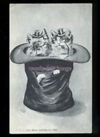 an0338 - Cats - Two Gentlemen Cats in a Top Hat, No.8226 - Artist E.K - postcard