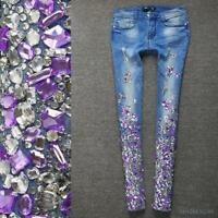 Womens Rhinestones Pants Jeans Slim Spring A1 Fashion Bling Floral Trouses Denim