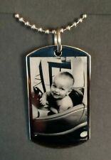 Fathers Day Custom Engraved Photo Picture High Polish Stainless Steel Pendant