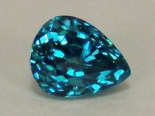 Genuine Blue Zircon 3.53 Ct. Pear Very Fine Color Superior Cut 8.6 x 6.9