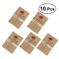 10pcs Vintage Kraft Paper Greeting Cards Dry Flower Cards Teacher Friend Family