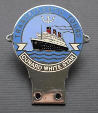 CUNARD WHITE STAR LINE RMS QUEEN MARY MAIDEN VOYAGE ERA RARE TOUR CAR BADGE