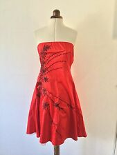 JANE NORMAN Red and Black floral embroided embellished Bandeau Prom Dress 12
