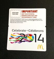CANADA  🇨🇦 2014 WORLD CUP MCDONALDS GIFT CARD ------ RARE ---- NEW