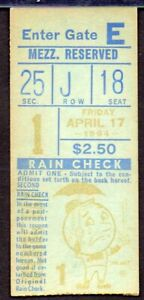 NEW YORK METS SHEA STADIUM OPENING DAY 1964 TICKET STUB RARE & DESIRABLE