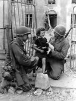 8 x 10 B&W WWII Photo US Soldiers with Child and Puppy WW2 / 1002 8X10