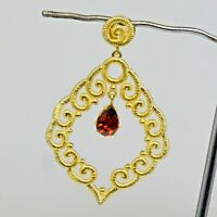 925 Sterling Gold Plated Silver Garnet Gemstone Pendant 5.15 gms Jewelry CCI