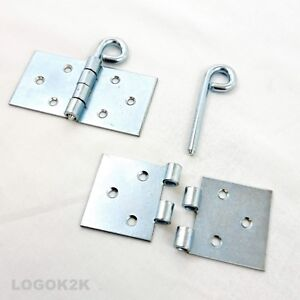 Pair (2pc) Backflap - Removable Pin Heavy Duty Strap Hinges Galvanized Steel