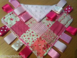 PINK PATCHWORK BABY/TODDLER TAGGY BLANKET/COMFORTER/GIFT GIRL