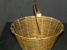 Brass Oval Basket with Handle over 5 inches wide (2474)