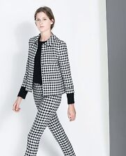 Zara New 2014 Collection CHECKERED CARDIGAN JACKET. Size: Small