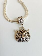 OWL Sterling Silver Plated Dangling Charm Bead For European Style Bracelets