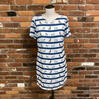 Sugarhill Dog Print striped SS Shift Dress Size 4