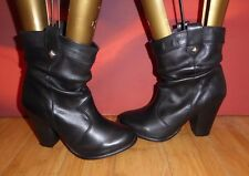 *42* URBAN VINTAGE BY NEXT BLACK LEATHER COWBOY STYLE ANKLE BOOTS  UK 4 EU 37
