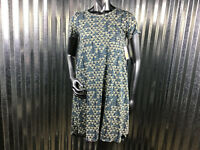 LuLaRoe Carly Scoop Neck Short Sleeve Turquoise Blue Tan Dress Pocket Size XXS