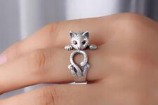 Unisex Women Mens Vintage Thai Silver Roll Up Cat Ring Adjustable Rings