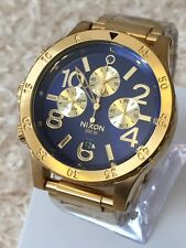 New NIXON Mens Watch 48-20 CHRONO Gold Blue Sunray Surf Skate A486-1922 A4861922