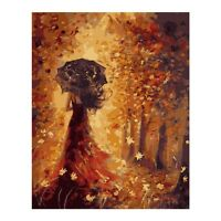 New Girl w/ Umbrella Digital Oil Canvas Painting Art Wall Decor by hand coloring