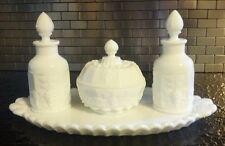 Westmoreland Milk Glass Paneled Grape Vanity Dresser Set 2 Perfume Tray Puff Box