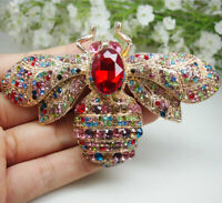 Vintage Style Bee Insect Golden Brooch Pin Pendant Multi-color Austrian Crystal