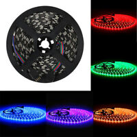 16.4ft 5M 5050 SMD 300 LED Flexible Strip Lights 12V Black PCB Waterproof USCC