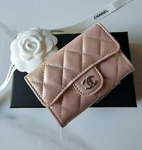 Chanel 21K Pink Iridescent Calfskin Snap Card Holder with Silver Hardware