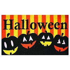 "Halloween Doormat Pumpkins Jack-O-Lanterns Coir Large 30"" x 18"" Robert Allen New"