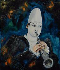 Tableau original de NCBEAUVERGER Pierrot à ma fille Peinture toile