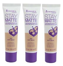3 x RIMMEL LONDON 30mL STAY MATTE LIQUID MOUSSE FOUNDATION 200 Soft Beige
