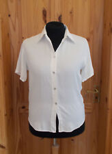 JAMES MEADE ivory off-white cream PURE SILK short sleeve blouse shirt top 16 44