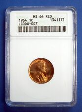 1964 LINCOLN CENT. ANACS CERTIFIED MS64 RED. LCDDO-007