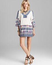 157927 NWD Free People Terra Nova Printed V Neck Ivory Tunic Dress Medium M