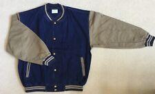 Light Weight Dark Denim Baseball Jacket / Dark Khaki Cotton Sleeves (Size XL)