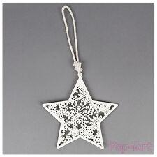 Ivory White Star Snowflake Shabby Chic Christmas Hanging Decoration Wedding Gift