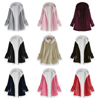 Women Fashion Winter Coats Pocket Zipper Long Sleeve Plush Hoodie Warm Coat