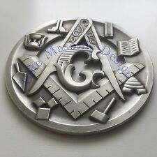 "New 3D..Masonic Master Mason Cut out Car, Multipurpose 3"" antique Silver emblem."