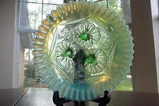 Antique Ruffles & Rings Northwood Jefferson Green Opalescent 3 Footed Bowl