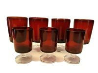 Lot 7 Luminarc Ruby Red Cavalier Wine Water Glasses Goblet Clear Pedestal France