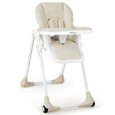 Baby Foldable Convertible High Chair w/Wheels Adjustable Height Recline Beige