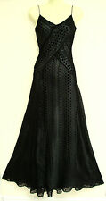 MONSOON SABINA BLACK MAXI LONG DEVORE COCKTAIL PROM DRESS 12 £150