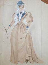 RARE Orig Vtg Wardrobe Costume Sketch Watercolor Walter Plunkett Edith Head