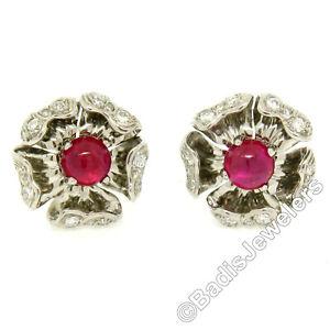 Platinum 6.05ctw AGL No Heat Burma Ruby & Diamond Cabochon Flower Clip Earrings