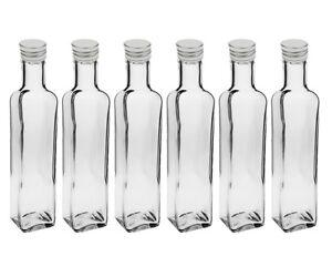 12 Leere Glas Flaschen Schraubverschluss Eckig 250ml Klein Oliven Öl Silber Etik