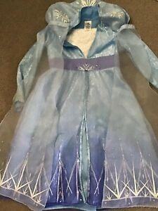 Disney Store Frozen Princess Elsa Fancy Dress Costume Age 7-8 Used