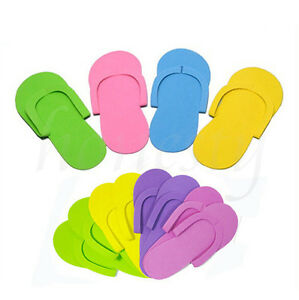 2/5Pairs Disposable Flip Flops Foam Pedicure Tanning Spa Slippers Random Color