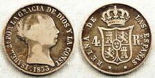 Spain-Isabel II. 4 Reales 1853. SEVILLA. Plata 4,9 g. Bonito tono