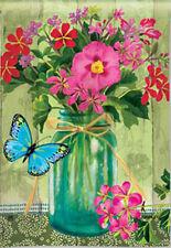 Garden Flag, Spring / Summer, Mason Jar Bouquet, Floral, Butterfly