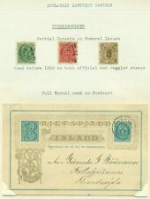 ICELAND DISTRICT CANCEL STYKKISHOLMUR STAMPS + POSTAL CARD ON EXHIBIT PAGE